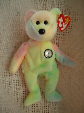 "TY Beanie Babies ""B.B. Bear"" (Birthday Bear). Soft Plush Tie-Dye. 1999. 8"" NEW"