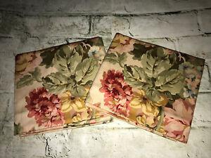 Rare! Vintage Ralph Lauren Sussex Garden Cotton-Sateen Pair STD Pillowcases