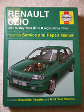 RENAULT CLIO PETROL HAYNES SERVICE & REPAIR MANUAL 1991 ~ 1998 1853 H TO R