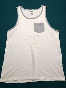 Champs Sports Gear CSG Mens Tank Top T Shirt Size Medium White Gray Pocket
