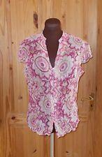 PER UNA pink fuchsia beige floral chiffon v neck shortsleeve blouse shirt top 12