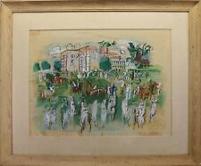 RAOUL DUFY 1950s MIX-MEDIA ASCOT LITHOGRAPH PRINT PLATE SIGNED RARE HAND COLORED