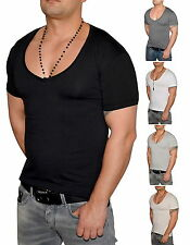 WOW Deep V-Neck T-Shirt - Slim Fit Tiefer V-Ausschnitt Stretch Shirt - S bis 3XL