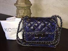 MICHAEL KORS CARINE Medium Shoulder Bag Embossed Leather ELECTRIC BLUE NWT $398
