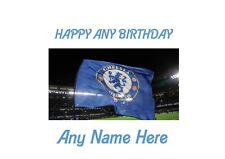 Happy Birthday Flag Flying Chelsea A4 Personalised EASY PEEL PRECUT Icing Sheet