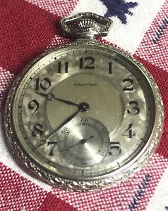 Antique Fancy Gold Filled Waltham  pocket watch 12S 15 jewel Model 1894 Runs