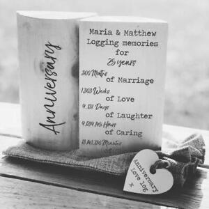 Personalised Wedding Anniversary Gift LOVE LOG Eco Friendly Unusual Keepsake