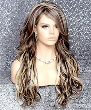 Long Beach wave Brown Blonde wig HEAT SAFE Hair piece bangs Skin Top wnta 6-613