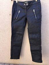 Isabel Marant For H&M Black Coated Moto Jeans Pants Size 4 EUC