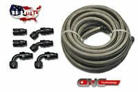 AN8 12FT Braided Stainless Steel PTFE Fuel Hose  E85/Oil/Gas Fitting Kit