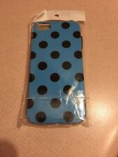 Apple IPHONE 5 5S Blue  With Black Polka Dots Plastic Case