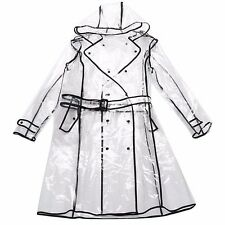 Fashion Women Transparent Raincoat Poncho Waterproof Jacket Clear Rain Hooded Co