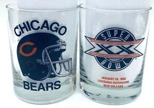 2 Vtg 1986 Super Bowl XX Chicago Bears Football Scotch Glass / Ditka Payton era