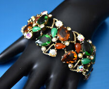 """CLASSIC VINTAGE SIGNED SELRO 7 1/4""""  MULTI JEWELED GOLD PLATED BRACELET ~ S75"""