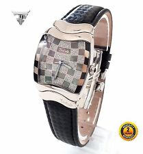 TROFISH SN3118BM Square SWISS MADE Chess Watch Black Leather Black Dial CRYSTALS