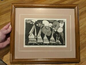 "1979 Mid Century Artist Signed & Numbered (3/20) Etching ""The Promenade"" Framed"