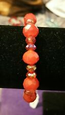 Clear red and opaque red beaded stretchy bracelet real glass