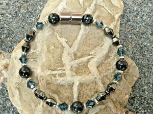 Pick 1 Of 9 Magnetic Hematite Bracelet Anklet Necklace Gemstone n Swarovski AAA+