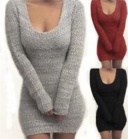 Women Winter Slim Bodycon Turtleneck Knitted Sweater Mini Dress Jumper Knitwear