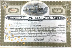 Titanic Authentic International Mercantile Marine 25 Shares Stock Certificate