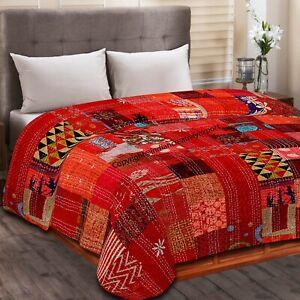 Indien Beautiful Silk Patola Kantha King Quilt Bedspread Throw Patchwork Blanket
