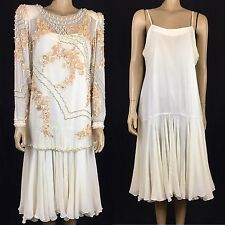 Vintage Off White Beaded Dress Silk Cocktail Dress Medium Creative Creationist