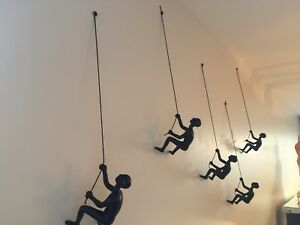 5 Piece Climbing Man Sculpture Wall Art Gift For Home Decor Interior Design