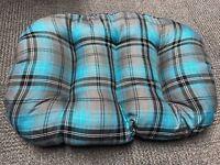 LARGE TEAL TARTAN Cotton Dog Cat Bed Cushion For Bottom Of Basket UK Made