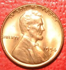 1954 S Lincoln Wheat Cent Penny , GEM BU Red , US Coin , Free Shipping!