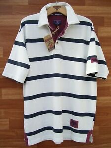 Edwards Heavies ED44 Short Sleeve Striped Cotton Polo Shirt Ecru/Navy - M/L