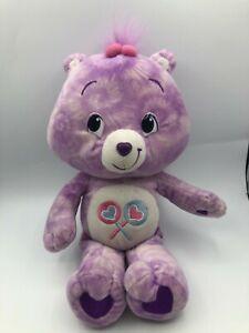 Care Bears Share Bear Purple Plush Kids Soft Stuffed Toy Animal Doll 2007 TCFC