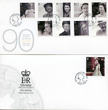 Gibraltar 2016 FDC Queen Elizabeth II 90th Bday 10v Set 2 Covers Royalty Stamps