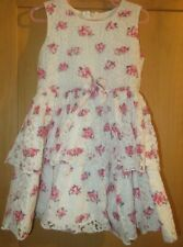 GIRLS 3-4 YEARS WHITE / PINK  FLOWER LACE DRESS