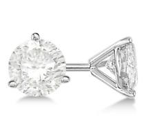 Lab Grown Round Diamond Stud Earrings 1/2 CTTW H-I SI1 3-Prong Screwback 14K WG