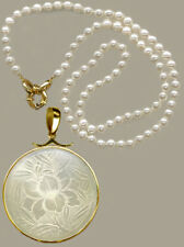 14k Slider Bale Rnd.Pendant  c.1760 Floral Patt Antique Chinese Mo Pearl Counter