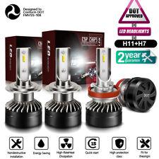 4x Mini H7 H11 Combo LED Headlight Fog Bulbs High Low Beam 120W 24000LM Bright
