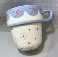 Marks & Spencer Hand Painted Blue Floral Replacement Stacking Mug Stackable Cup