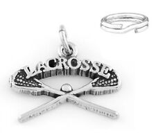 "STERLING SILVER ""LACROSSE STICKS"" CHARM with SPLIT RING"