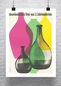 Mid Century Modern Glass Exhibition Poster Canvas Giclee Print