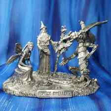 Forest Dwellers Wizard Dragon Fairy Pewter Figurine Rawcliffe US Made *NEW*