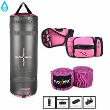 """MaxxMMA Pink Training & Fitness Heavy Bag + Weighted Gloves + 120"""" Hand Wraps"""