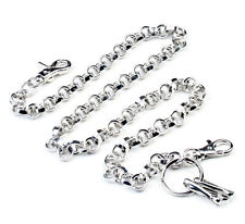 """Long Heavy Ring Cross Biker Trucker Key Jean Wallet Chain (29.5"""") Silver CS43"""