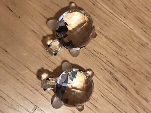 Adorable 2 Authentic Swarovski Small Turtles! Mint Condition, sparkly in person!