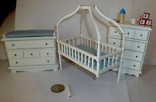 VINTAGE DOLL HOUSE MINIATURE VINTAGE BABY NURSERY FURNITURE CRIB CHANGING TABLE