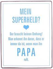 Retro Blechschild Spruch Mein Superheld ? PAPA  Vintage Deko Schild Wanddeko