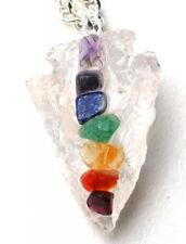 Reiki Healing Clear Quartz & Chakra Gemstone Crystal Arrowhead Pendant Necklace