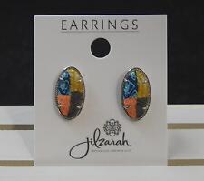 Jilzara Barcelona Post Silver Tone Frame Earrings Polymer Clay Beads Artisan B7