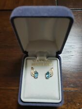 10K Gold Unique Oval Shape Blue Topaz and Diamond Studded Earrings New
