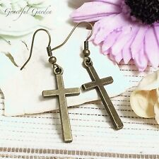 Er2696 Graceful Garden Vintage Style Plain Christian Catholic Cross Earrings