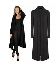 LADIES LONG SLEEVE FLOATY CREPE OPEN FRONT MAXI CARDIGAN JACKET COAT PLUS SIZES